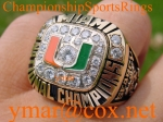 1991 Miami Hurricanes National Championship 10K Ring.  Size 14 3/4.  53.1 Grams of 10K Gold.  Belonged to NFL Star and N