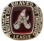 Now here is a picture of a REAL 1991 Atlanta Braves Ring.  You can compare the detailing of this ring to ebay auction #