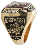 Notice in this real 1991 Brave ring the sharp and crispness of the wording and detailing of the World Series Logo and co