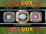 1982 Miami AFC Championship, 1995 Pittsburgh AFC Championship, and 1990 Buffalo AFC Championship Rings